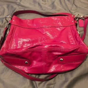 Hot pink patent leather Coach tote